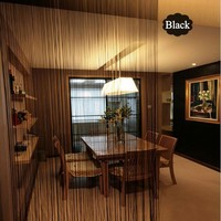Solid Color String Curtain Black White Green Classic Line Curtain Window Blind Valance Room Divider Door Decorative 300*300CM