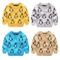 Moda inverno boa qualidade meninos Pinguim padrão camisolas dos miúdos das Crianças do bebê roupas de algodão tops casacos