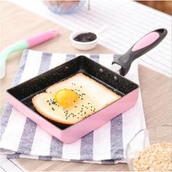 18*15cm Aluminium Alloy Cookware Fried Egg Steak Skillet Grill Pan Non-stick Frying Pan Tamagoyaki Rolls Pan Kitchen Utensils#*
