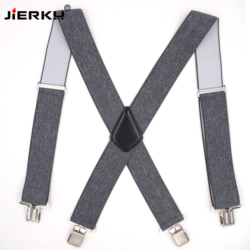 JIERKU Suspenders Man's Braces 4 Clips Suspensorio Trousers Strap Adjustable Outdoor Suspenders 5.0*120cm JK4C0821