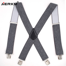 JIERKU Suspenders Mans Braces 4 Clips Suspensorio Trousers Strap Adjustable Outdoor 5.0*120cm JK4C0821