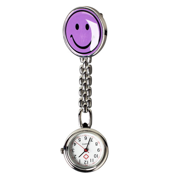 New Smile Face Nurse Fob Brooch Pendant Pocket Watch High Quality Clock For Doctor Purple   LL