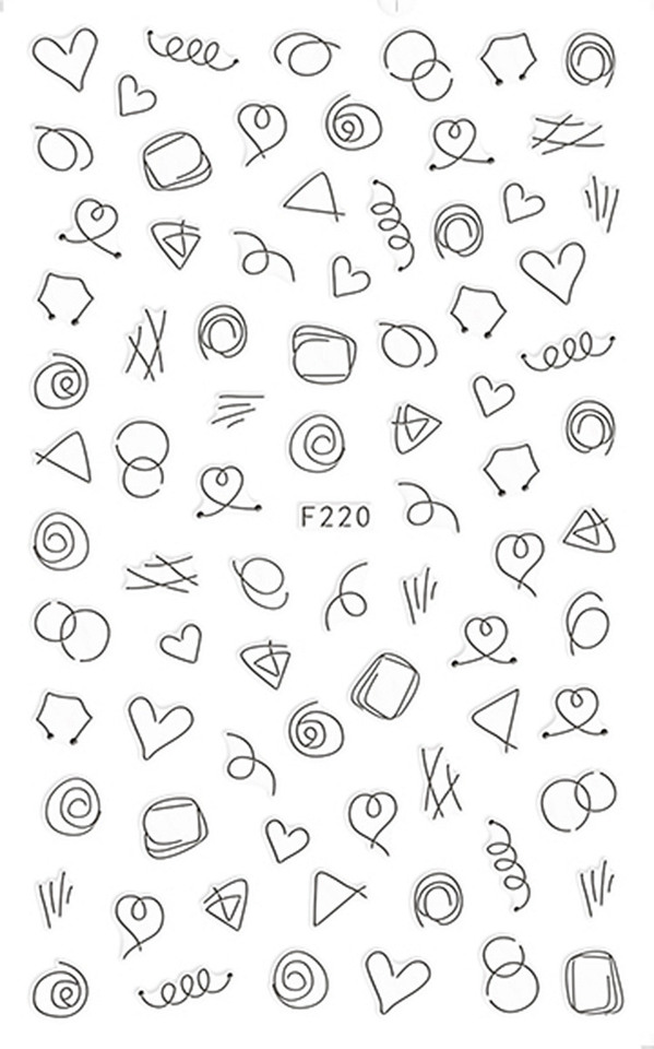 1 Sheet Gold Silver Black White Cute Love Simple Line Drawing Designs Adhesive Nail Art Stickers Decorations Diy Tips F220 Stickers Decals Aliexpress