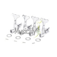 Musiclily pro Sealed Electric Bass Machine Heads Tuners Tuning Keys 4-In-Line Set, Chrome/Black