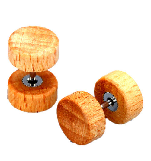 Wooden Color Stud Earrings for Men and Women