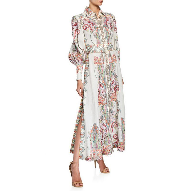2019 autumn new cashew printed two sides open long sleeved long dress women s dress 190612YX01