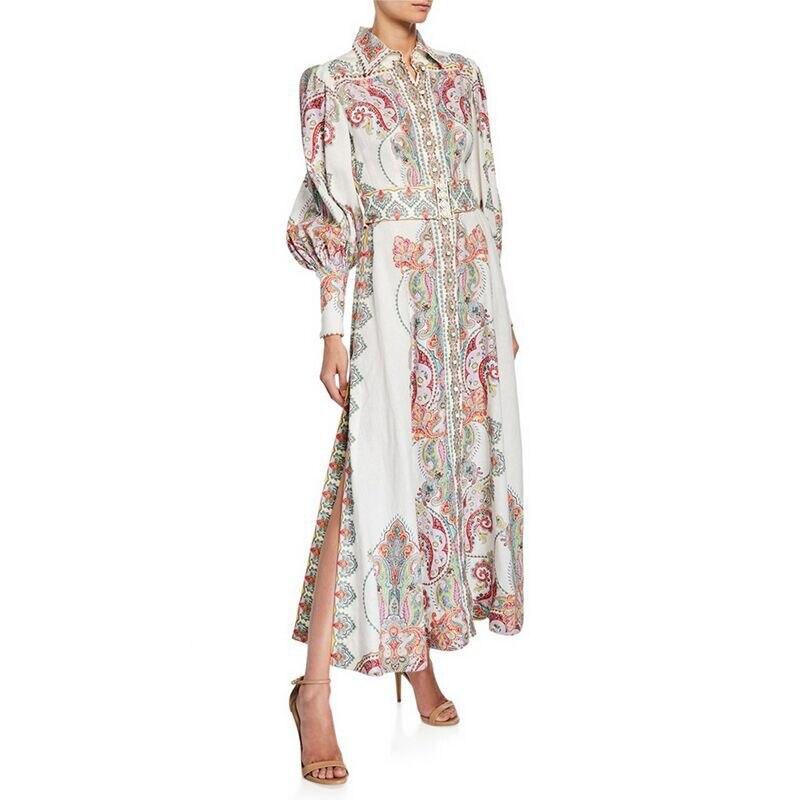 Kadın Giyim'ten Elbiseler'de 2019 sonbahar yeni kaju baskılı iki tarafı açık uzun kollu uzun elbise kadın elbise 190612YX01'da  Grup 1