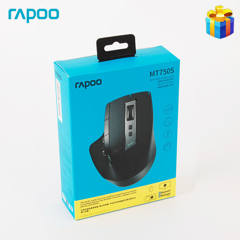 Rapoo MT750S Original Wireless Mouse Rechargeable Multi Mode Bluetooth Mouse Gaming Mouse for Business Office