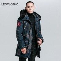 LEOCLOTHO parka men Personality badge cotton jackets men winter coat men