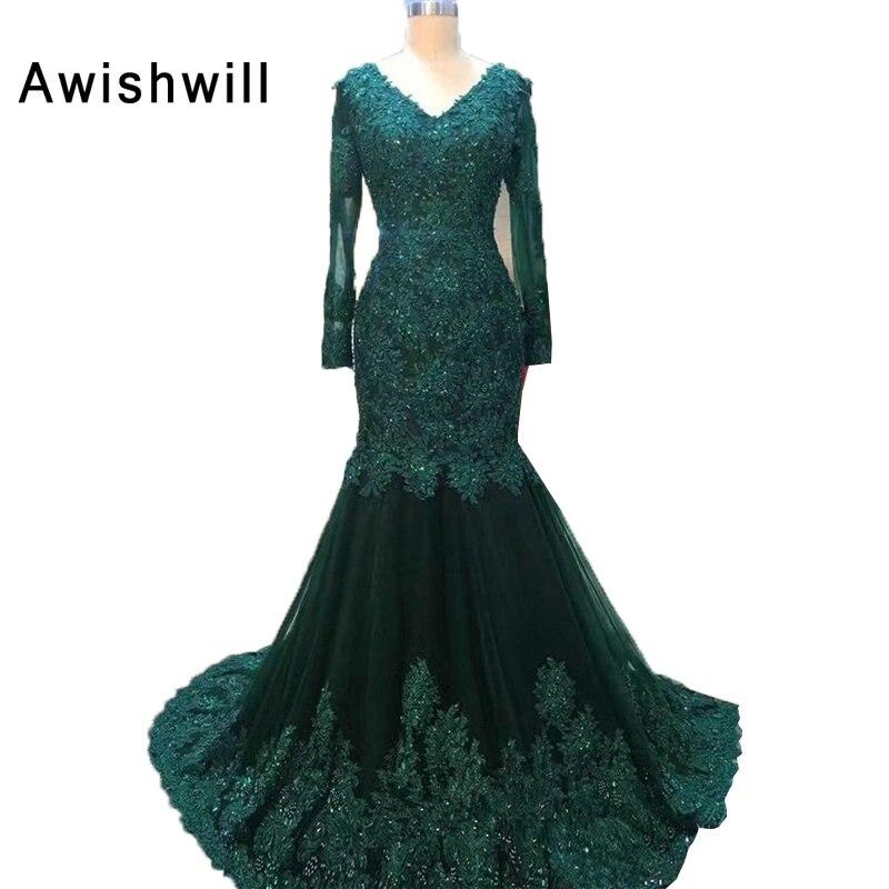 Real Pictures vert émeraude v-cou élégant femmes robe de soirée robe de soirée sirène à manches longues robes de soirée pour formelle 2019 - 4