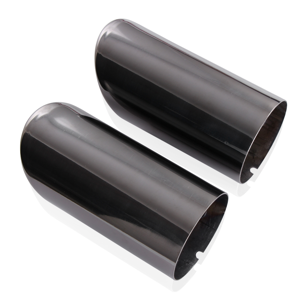 Yingchi 2Pcs Black Stainless Steel Exhaust Muffler Tail Pipe Tip Tailpipe for VW Tiguan 2012-2016