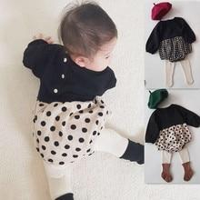 Korean Baby Jumpsuit Bodysuits Minimalist Girl's Children's Dot Cute Checked
