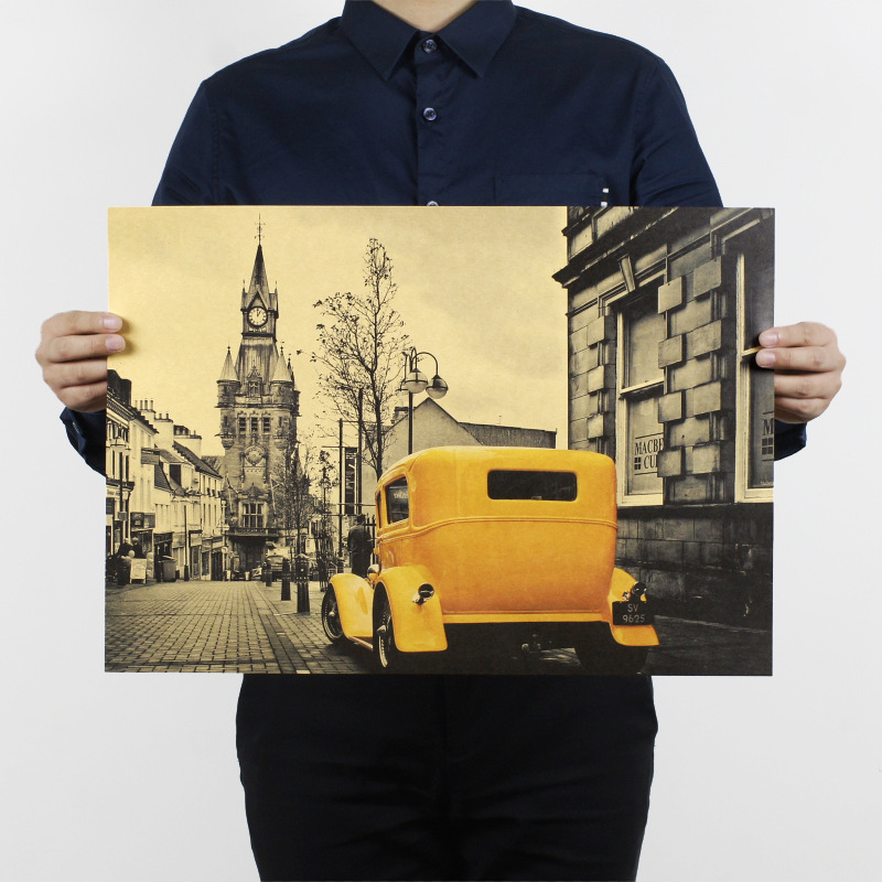 51x36cm Yellow Vintage Car London Street Poster Kraft Paper Bar Poster Retro Poster Decorative Painting Wall Stickers