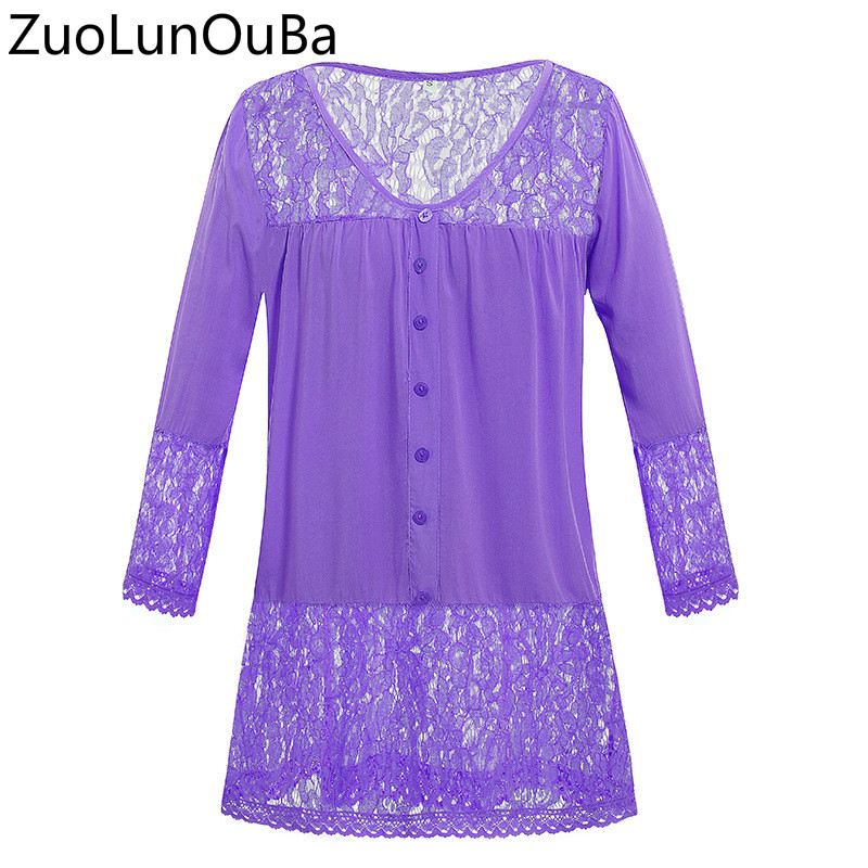 Zuolunouba 2018 Spring Autumn European American Women 39 s Solid Color T shirt Lace Stitching V neck Seven point Sleeve T shirt Top in T Shirts from Women 39 s Clothing