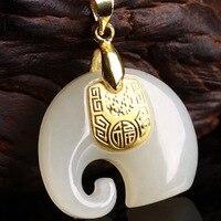 Gold Jade Pendant Necklace Drop Shipping Hetian Jade Elephant Pendant Lucky Amulet 24K Gold Fine Jewelry