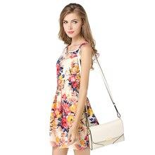 LG1138 S - XL Tropical Beach Dress Women Plaid Stripe Flower Print Bohemian Chiffon Tank Dress Sexy Elastic Waistband 19 Color