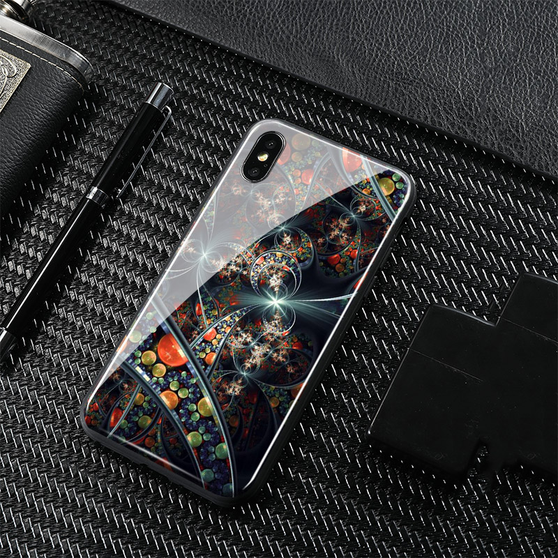 Abstract Geometric painting Glossy Tempered Glass Phone Case Shell Cover For Apple iphone 6 6s 6Plus 6sPlus 7 8 7Plus 8Plus X