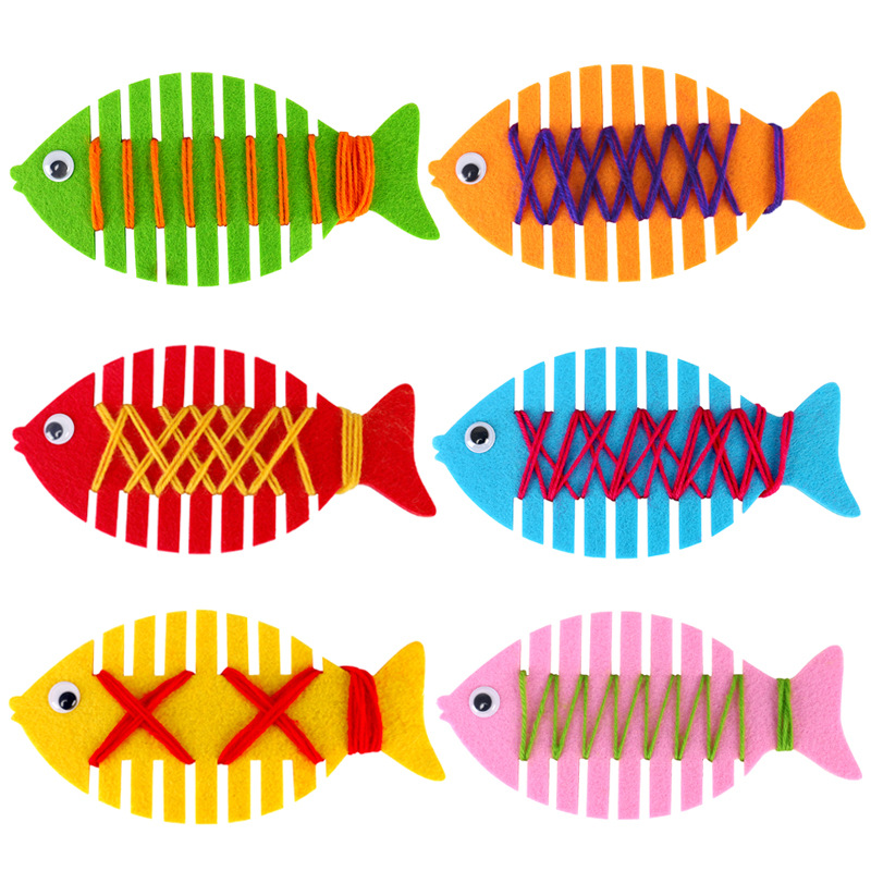 Non-woven Fabric Handicrafts Toys For Children DIY Cartoon Fish Handmade Craft Puzzle Paper Tray Painting Backpack Dropshipping