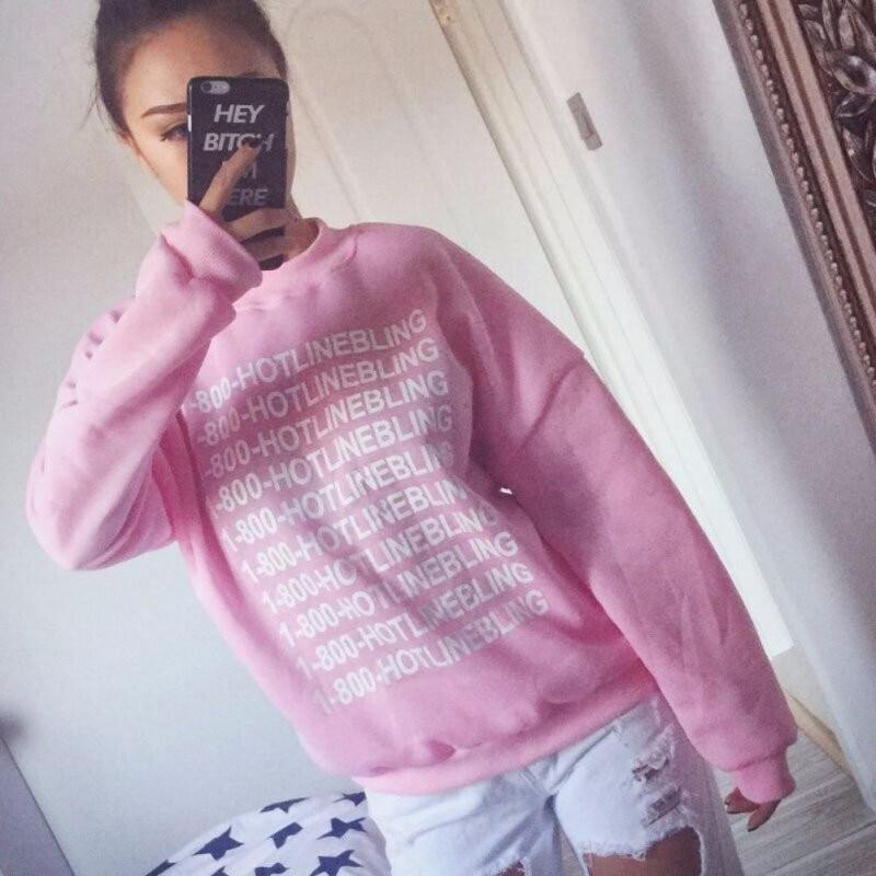 Autumn Fashion Women Pink Fleeced Thick Warm Hoodies Pullovers 800 Hotline Bling Winter Sweatshirts New 1