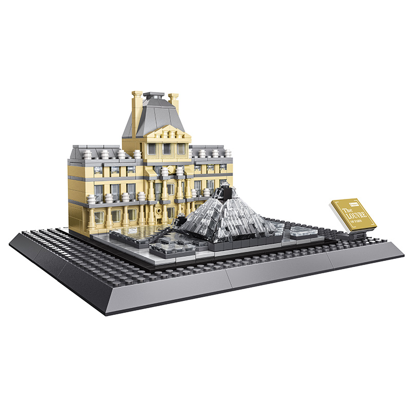 KAZI Small Architecture Series Louvre Of Paris Action Building Blocks Set Model 785pcs Bricks Toys For Children Learning Gifts