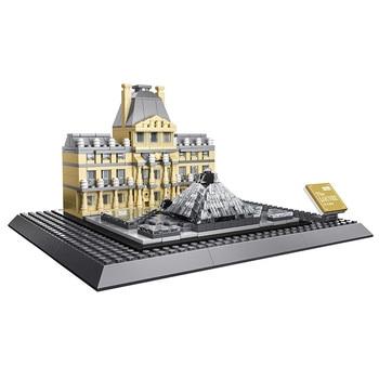 KAZI Small Architecture Series Louvre Of Paris Action Building Blocks Set Model 785pcs Bricks Toys For Children Learning Gifts 21035 lego