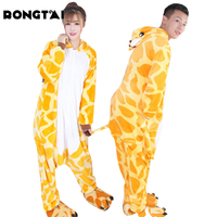 RONGTAI Adult Cartoon Pajamas Suit Cartoon Pajamas Women S Pajamas Flannel Animal Giraffe Pajamas Winter Warm