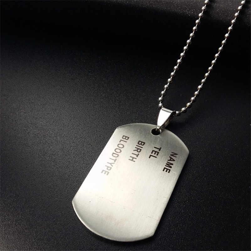 Militaire Leger ID Tag Badge Naam Pet Dog Tags Hanger Man Zilveren Kleur Rvs Ketting Ketting Charm Mannen Sieraden geschenken