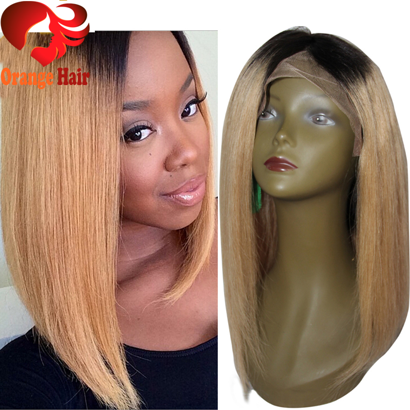 Honey Blonde Ombre Human Hair Bob Wig Right Side Part Dark Roots