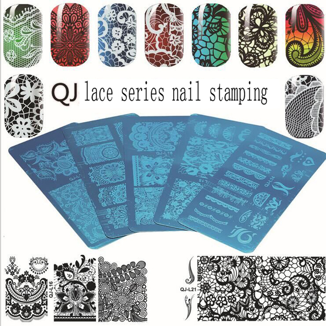 1 Pc Various Lace Arabesque Flower Pattern Nail Art Stamp Template ...