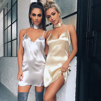 Lazy Pajamas Style Women Fashion Casual Deep V Collar Sexy Dress Hanging Neck Design Charm Party