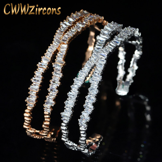 CWWZircons Brand Designer Women Jewelry Stunning X Shape Big Rose