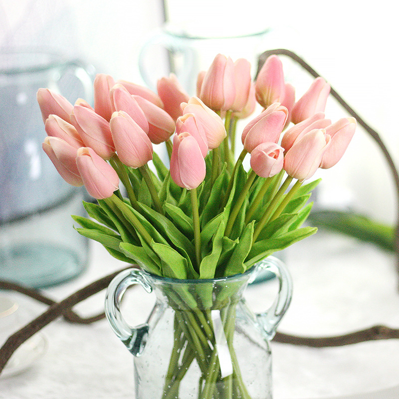 12pcslot artificial pu pretty flower bouquet pink tulip flowers for 12pcslot artificial pu pretty flower bouquet pink tulip flowers for wedding for party for home decoration free shipping in artificial dried flowers from mightylinksfo