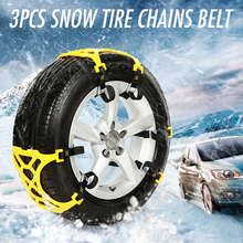3Pcs TPU Snow Chains Universal Car Suit 165-265mm Tyre Winter Roadway Safety Tire Chains Snow Climbing Mud Ground Anti Slip