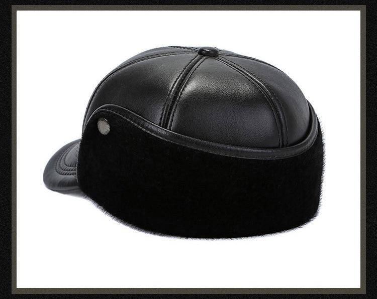 Leather hat sheep skin cap (17)