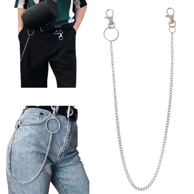 Long Metal Wallet Chain Leash Pant Jean Keychain Ring Clip Men's Hip Hop Jewelry