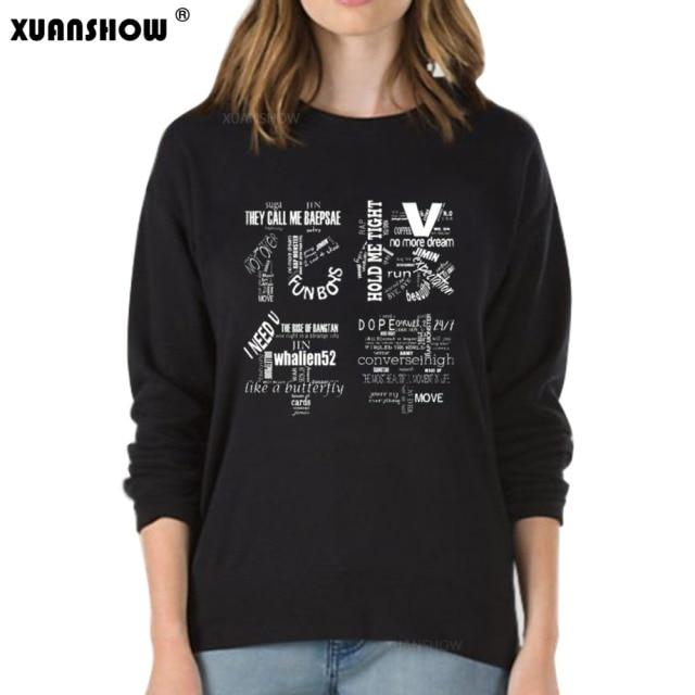 XUANSHOW 2018 Women Bangtan Boys Album Fans Clothing Gray White Black Color Casual Letters Printed Tops bts Hoodie Clothes Bluzy