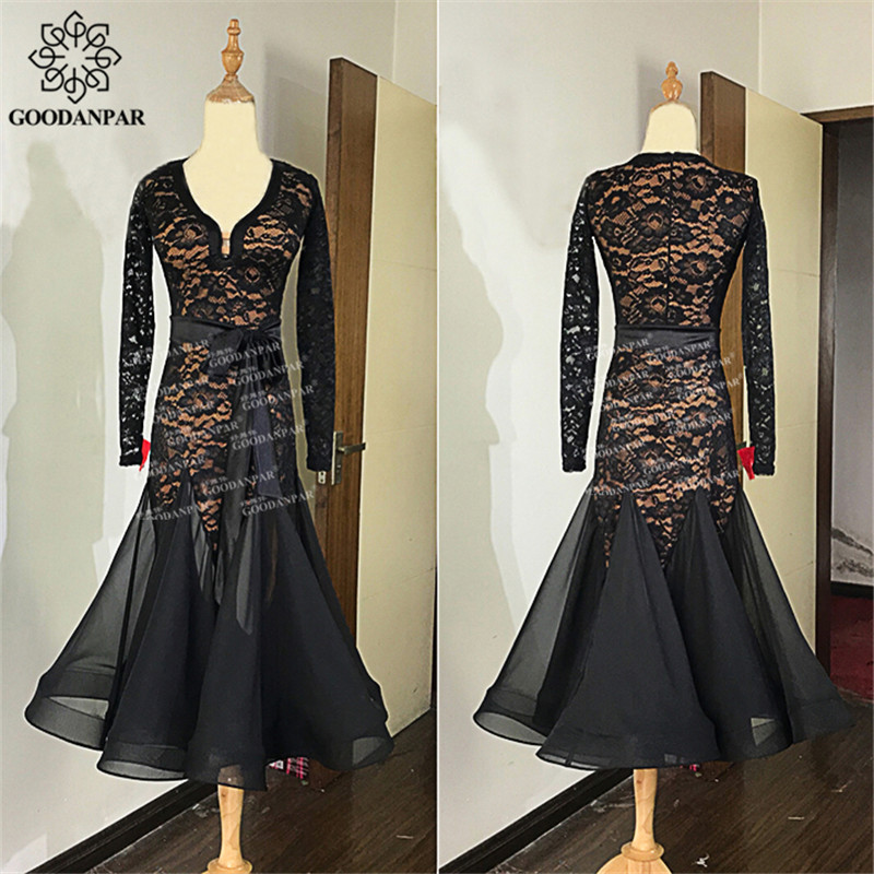 GOODANPAR Sexy Lace Lycra Ballroom Dance Practice Dress Women With Bodysuit Bra Cups Waltz Costume Standard Dance Wear