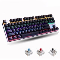 Metoo Backlight Edition Mechanical Keyboard 87 Keys Blue Switch Gaming Keyboards For Tablet Desktop Russian Sticker