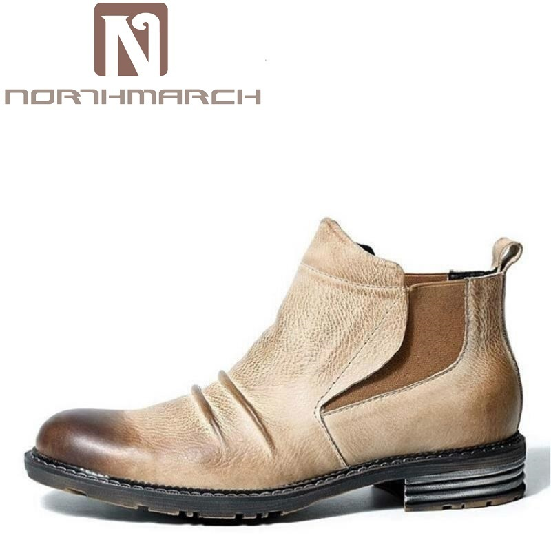 NORTHMARCH Vintage Genuine Leather Men Boots Fashion Warm Cotton Brand Ankle Boots Winter Shoes Scarpe Antinfortunistica Uomo italy golden goose brand men s and women s genuine leather casual shoes low ggdb denim green shoes scarpe uomo 2016