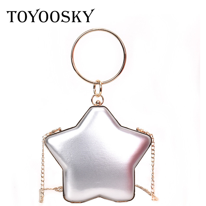 TOYOOSKY Fashion Star Shape Clutch Bag Women Round Metal Handle Box Evening Handbags Female Chain Crossbody Bags bolsa femininaTOYOOSKY Fashion Star Shape Clutch Bag Women Round Metal Handle Box Evening Handbags Female Chain Crossbody Bags bolsa feminina