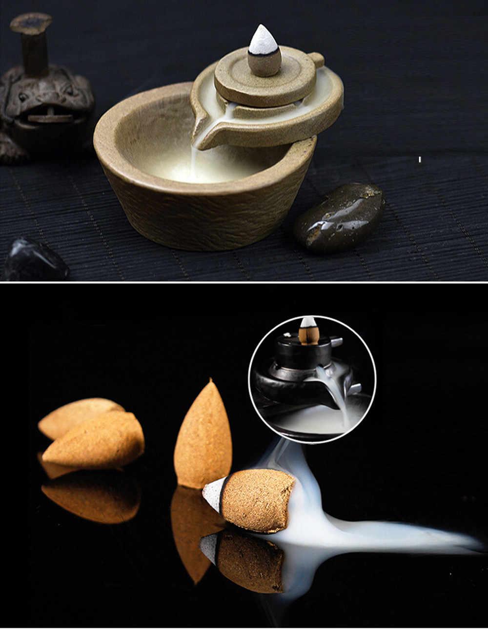 10 piezas aromas naturales reflujo Torre incienso sándalo humo conos reflujo Torre reflujo conos de incienso de bala al por mayor 1J3