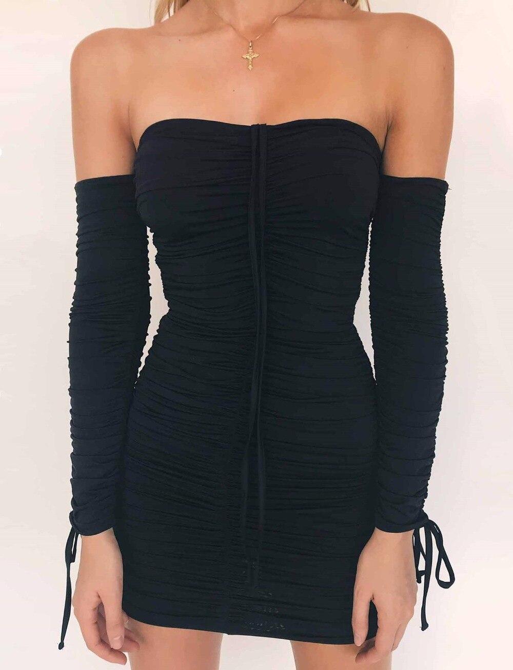 Бесплатная доставка 2018 Для женщин модные платья с открытыми плечами с длинным рукавом Тонкий сексуальное платье жатый Тощий Bodycon платье Выс...