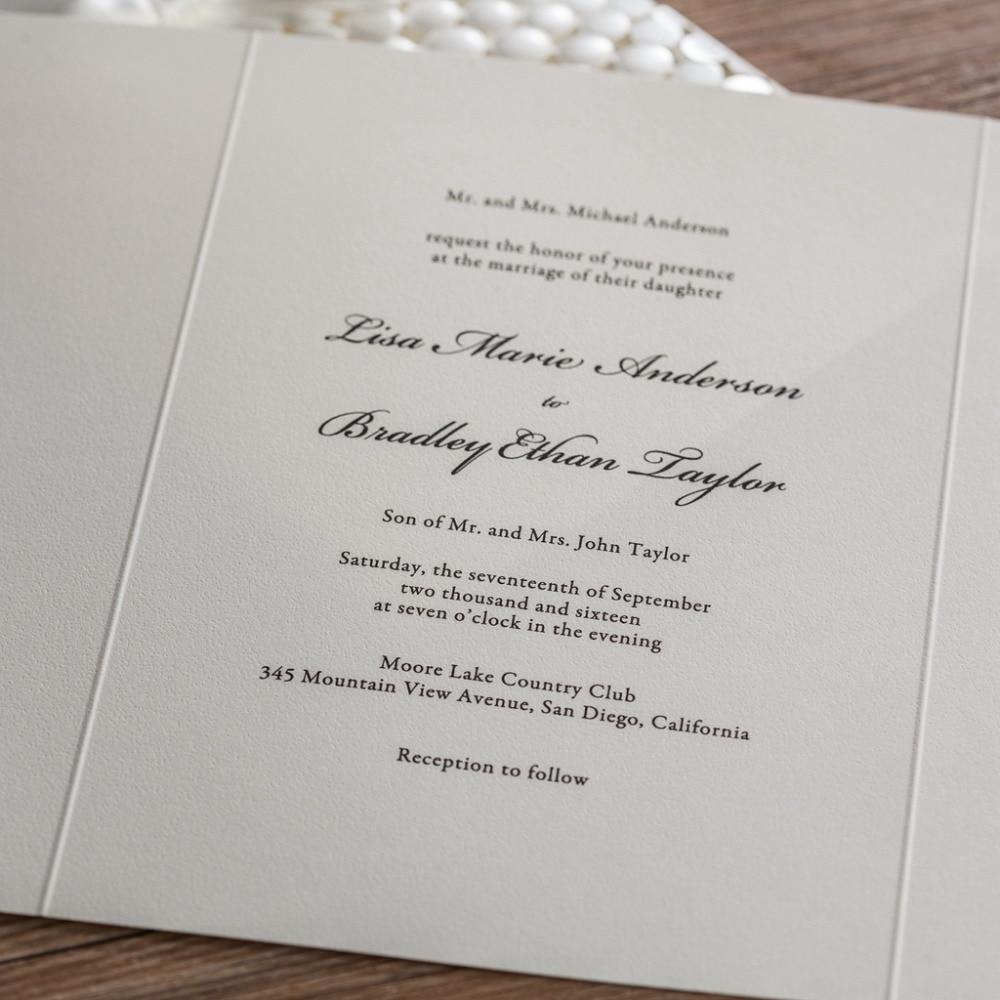 CW5188 white embossed laser cut wedding invitation free shipping ...
