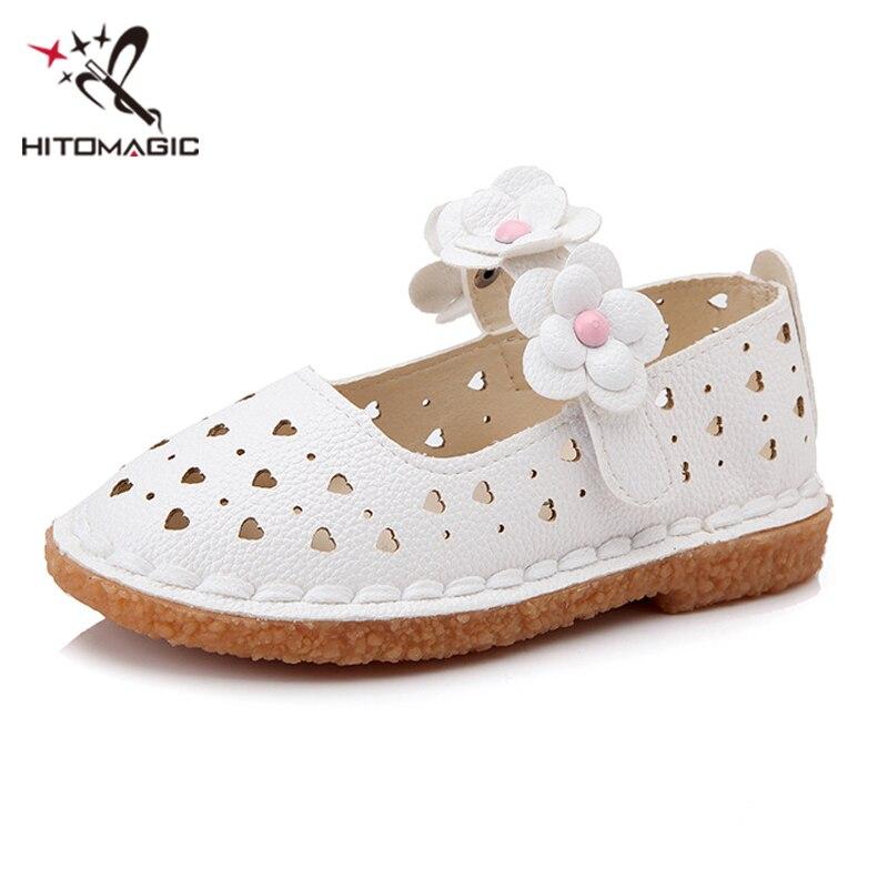 HITOMAGIC Girls Leather Shoes Summer Children Brand Kids Shoes For Girl Princess Big Size 3 Pink Wedding Flower Footwear Toddler