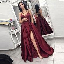JaneVini Сексуальная атласная длинные Бургундия платье невесты с карманами на лямках высокие раскол Африканского линии свадебные платья гость