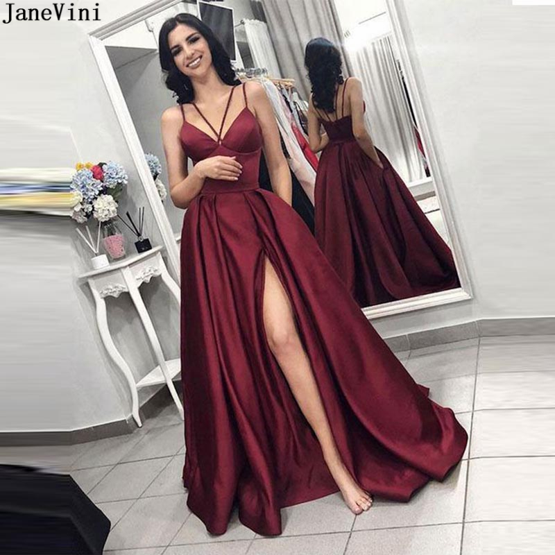 JaneVini Sexy Satin Long Burgundy   Bridesmaid     Dress   with Pockets Spaghetti Straps High Split African A Line Wedding Guest   Dresses