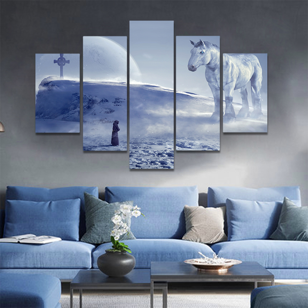 Unframed Canvas Art Painting Snow Mountain Full Moon Huge Horse People Prints Wall Pictures For Living Room Wall Art Decoration