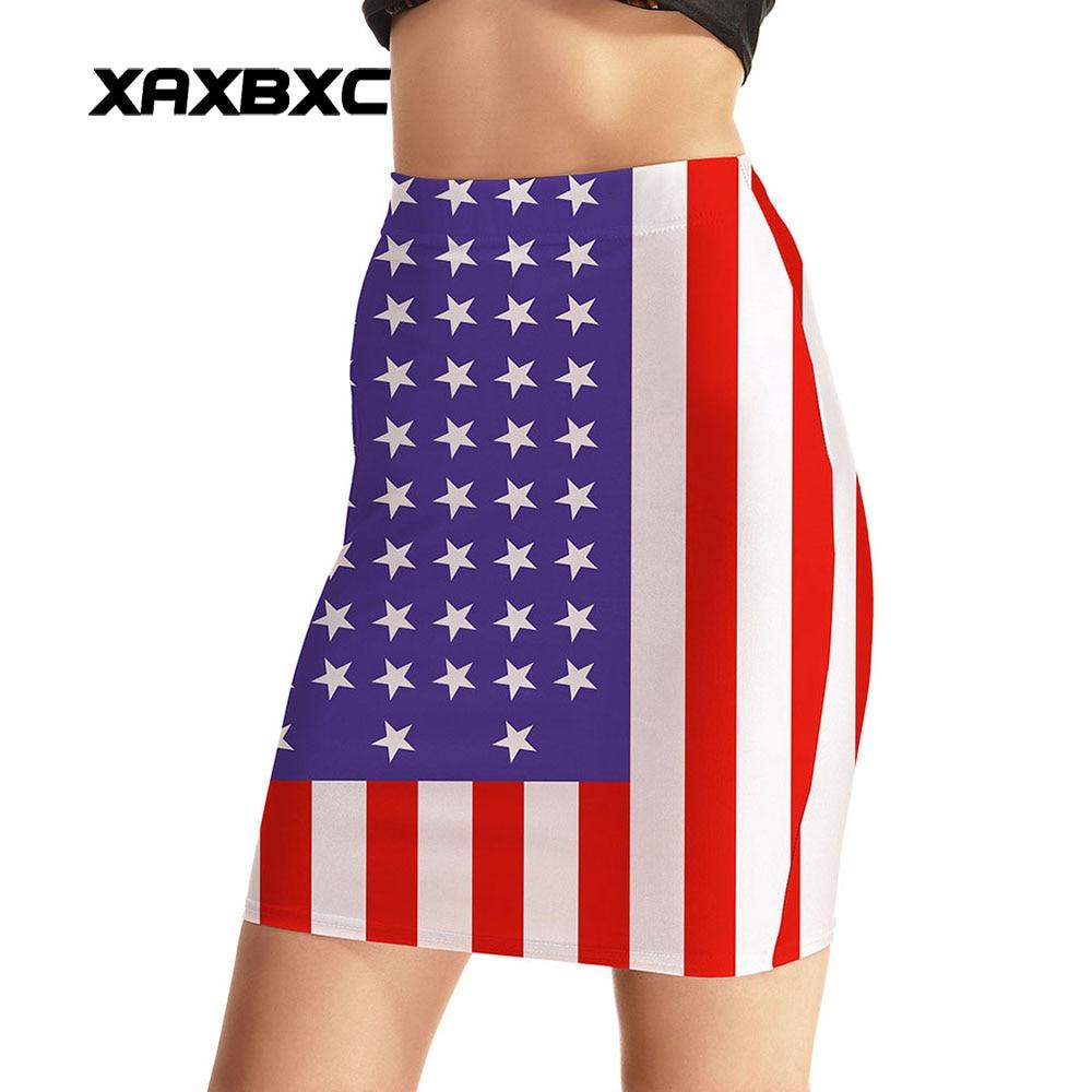 NEW Arrival 0011 Sexy Girl Women Summer The Old Glory American Flag 3D Prints Skater Miniskirt Evening Sexy Mini Tight Skirt