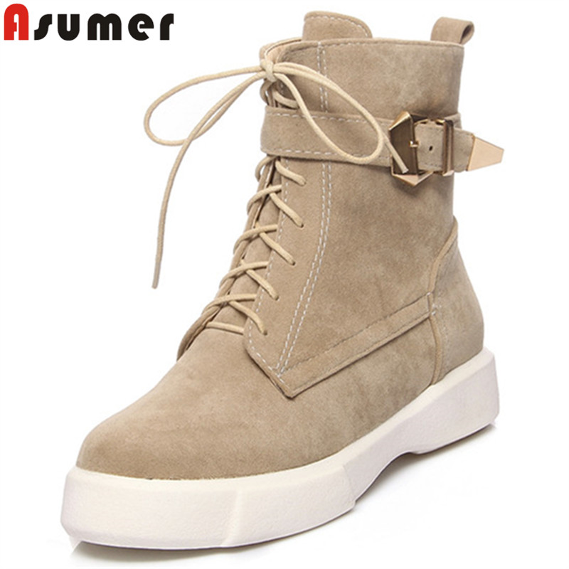 ASUMER Ankle-Boots Flat Autumn Big-Size Women Fashion Ladies Black Winter Cross-Tied