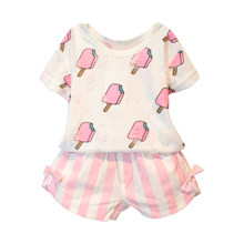 Kids Girls Clothing Set Summer Kids Girl Clothes Cute Ice Cream Hole T-shirt +Striped Bow Short Suit Clothing(China)